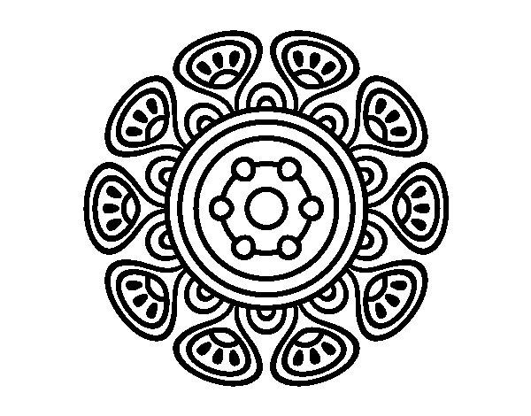 Mandala vegetal growth coloring page