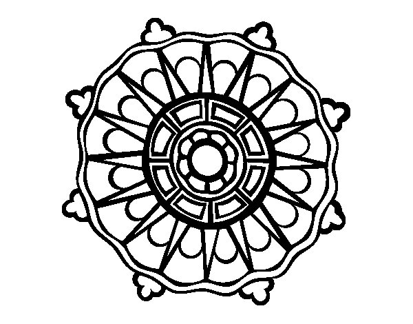 Mandala with sun rays coloring page