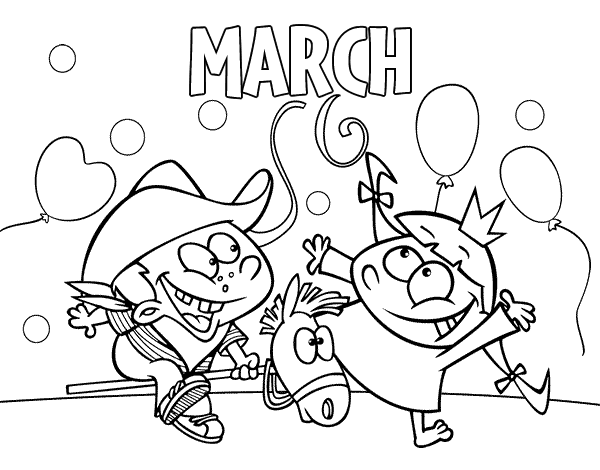 March coloring page for Months of the year coloring pages