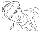 Mario Casas with a hat coloring page
