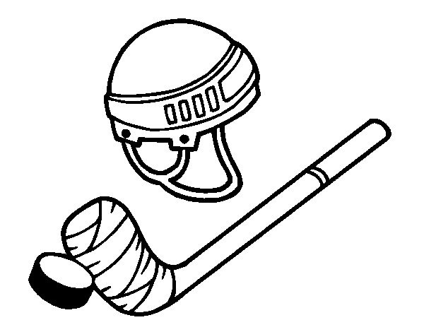 Material of hockey coloring page