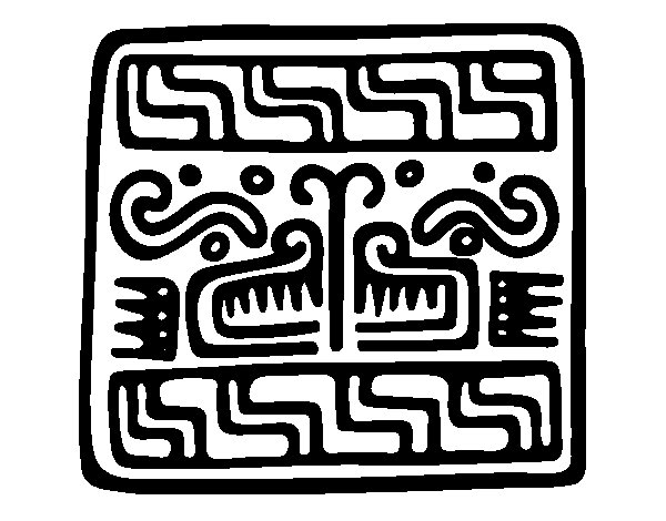 Maya inscription coloring page