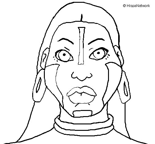 Mayan woman II coloring page