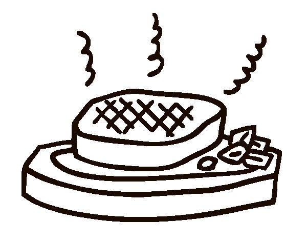 meat on the grill coloring page