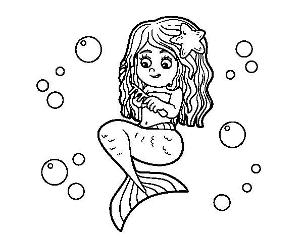 mermaid combing her hair coloring page coloringcrewcom