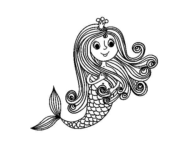 Mermaid princess coloring page