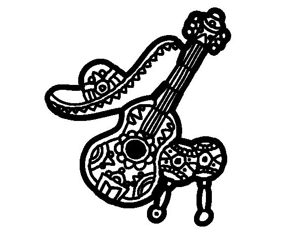 Mexican instruments coloring page Coloringcrew