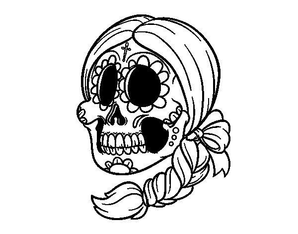 Mexican skull with braid coloring page