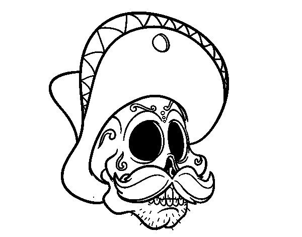 Mexican skull with moustache coloring page