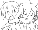 Miku and Len  with scarf coloring page