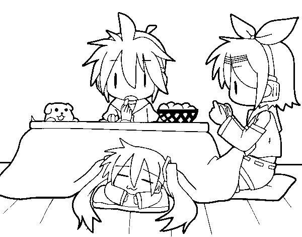 Miku Rin And Len Having Breakfast Coloring Page Coloringcrew Com Hatsune Miku Coloring Pages