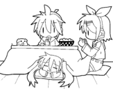 Miku, Rin and Len having breakfast coloring page