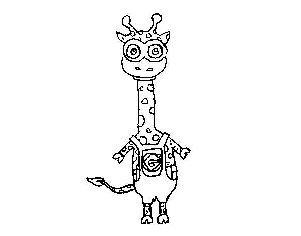 Minion giraffe coloring page