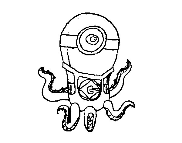 Minion Octopus coloring page