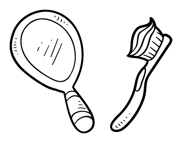 Hand Mirror Coloring Page Held Pages