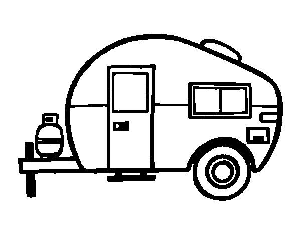 Modern caravan coloring page