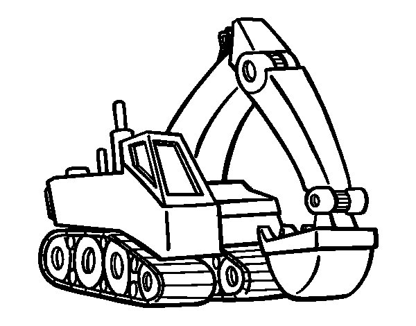 Modern excavator coloring page