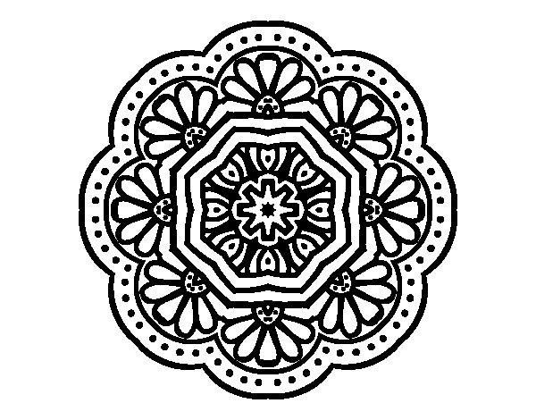 modernist mosaic mandala coloring page