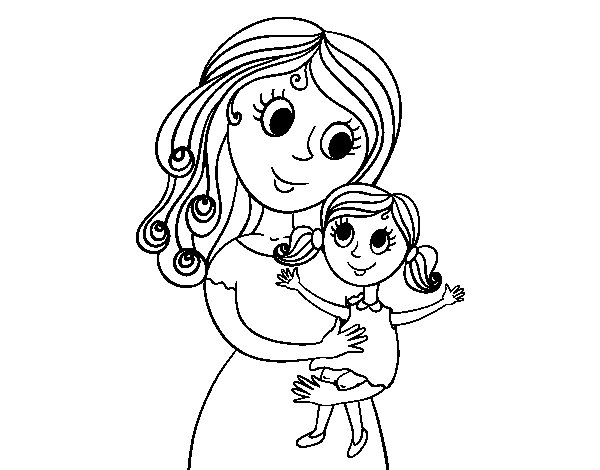 Mom with her daughter coloring page