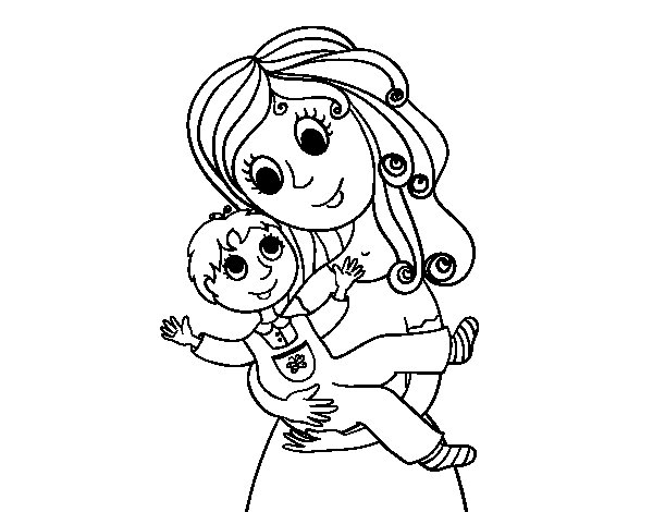 Mom with her son coloring page for Mom and child coloring pages