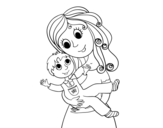 Dibujo de Mom with her son