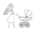 Mom with stroller coloring page
