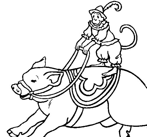 Monkey and pig coloring page