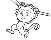 Dibujo de Monkey hanging from a branch