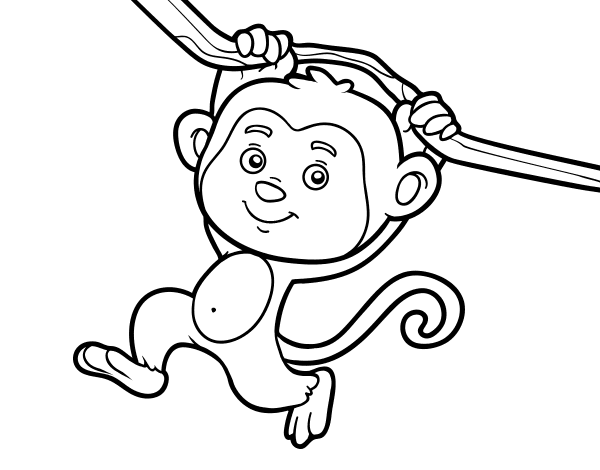 hanging monkey coloring pages - photo #17