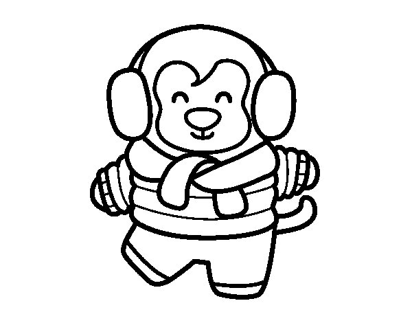 Monkey in winter coloring page