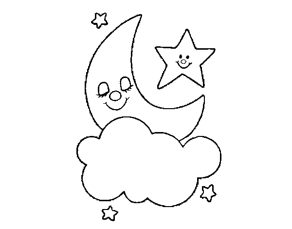 Moon and stars coloring page for Moon and stars coloring pages