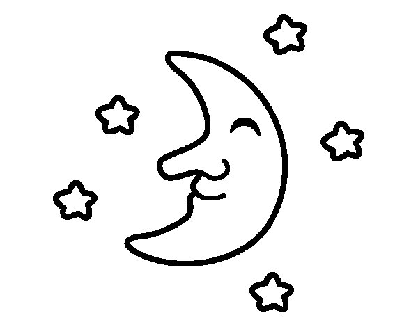 Moon with stars coloring page