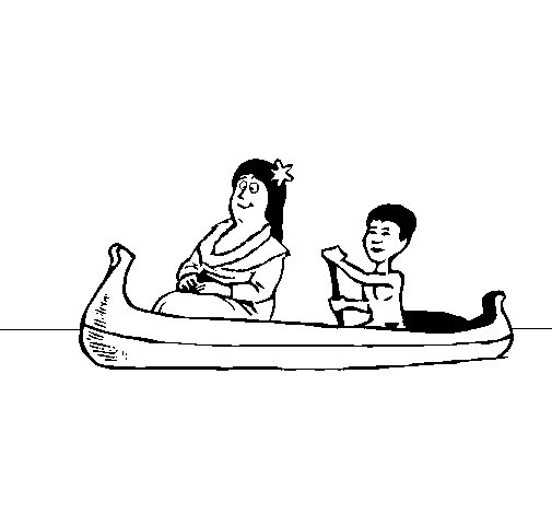 Mother and daughter in a canoe coloring page