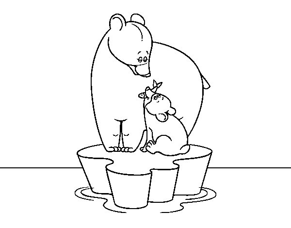 Mother bear with her son coloring page