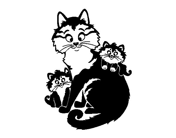 Mother cat and kittens coloring page