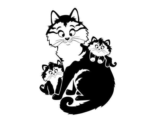 Mother cat and kittens coloring