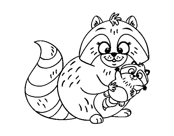 Mother raccoon coloring page