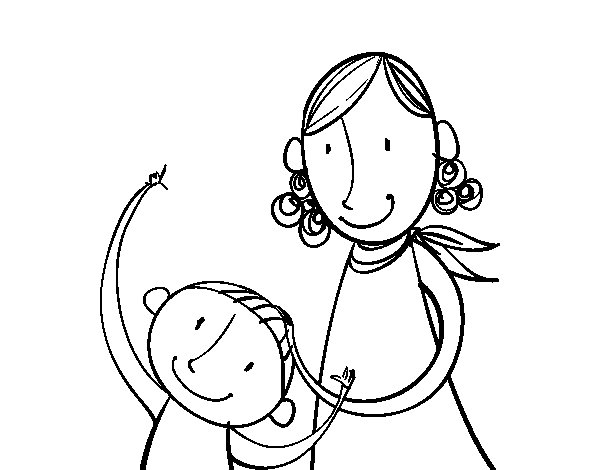 Mother stroking the child coloring page