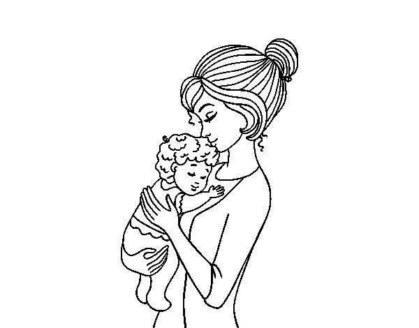 Mother taking the baby coloring page