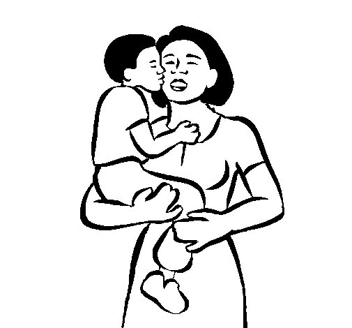 Motherly kiss coloring page