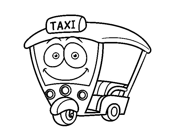 Motorbike - Taxi coloring page
