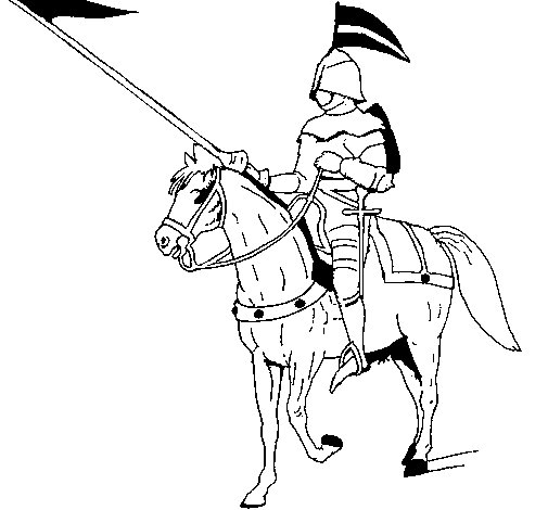 Mounted horseman coloring page
