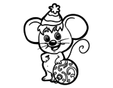 Mouse with Christmas Hat coloring page