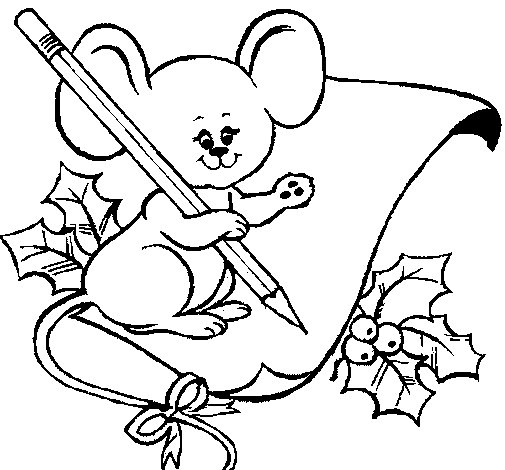 Mouse with pencil and paper coloring page