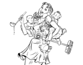 Multitasking mother coloring page