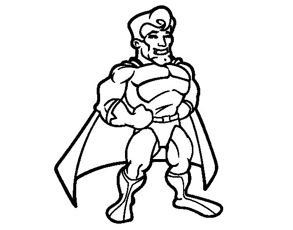 Muscular superhero coloring page
