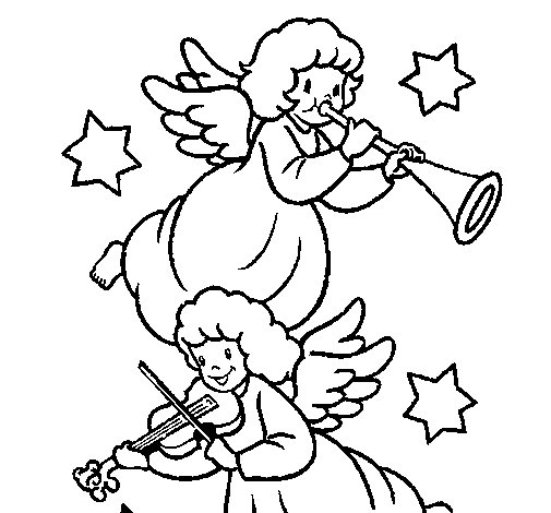 Musical angels coloring page