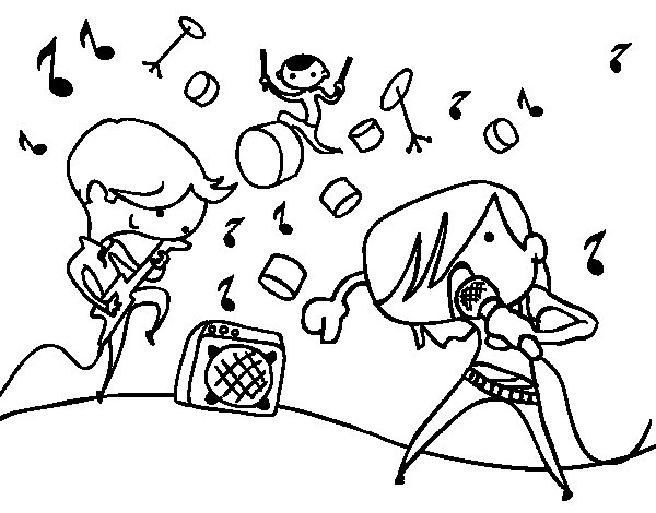 Musical group coloring page