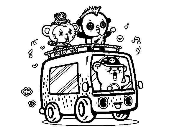 Musical van coloring page