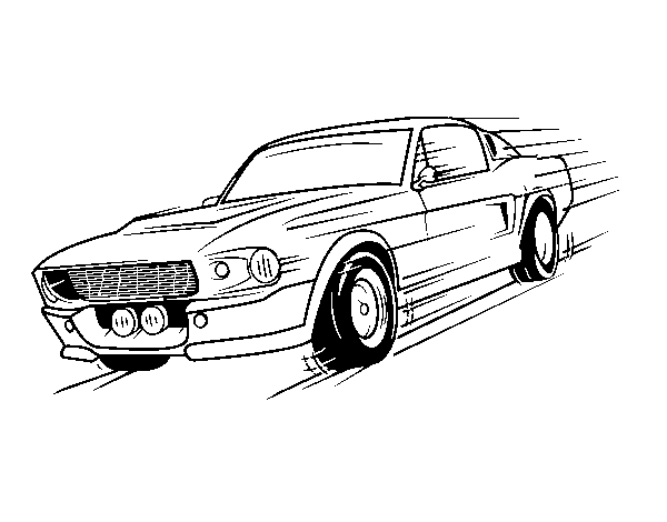 Mustang retro style coloring page - Coloringcrew.com